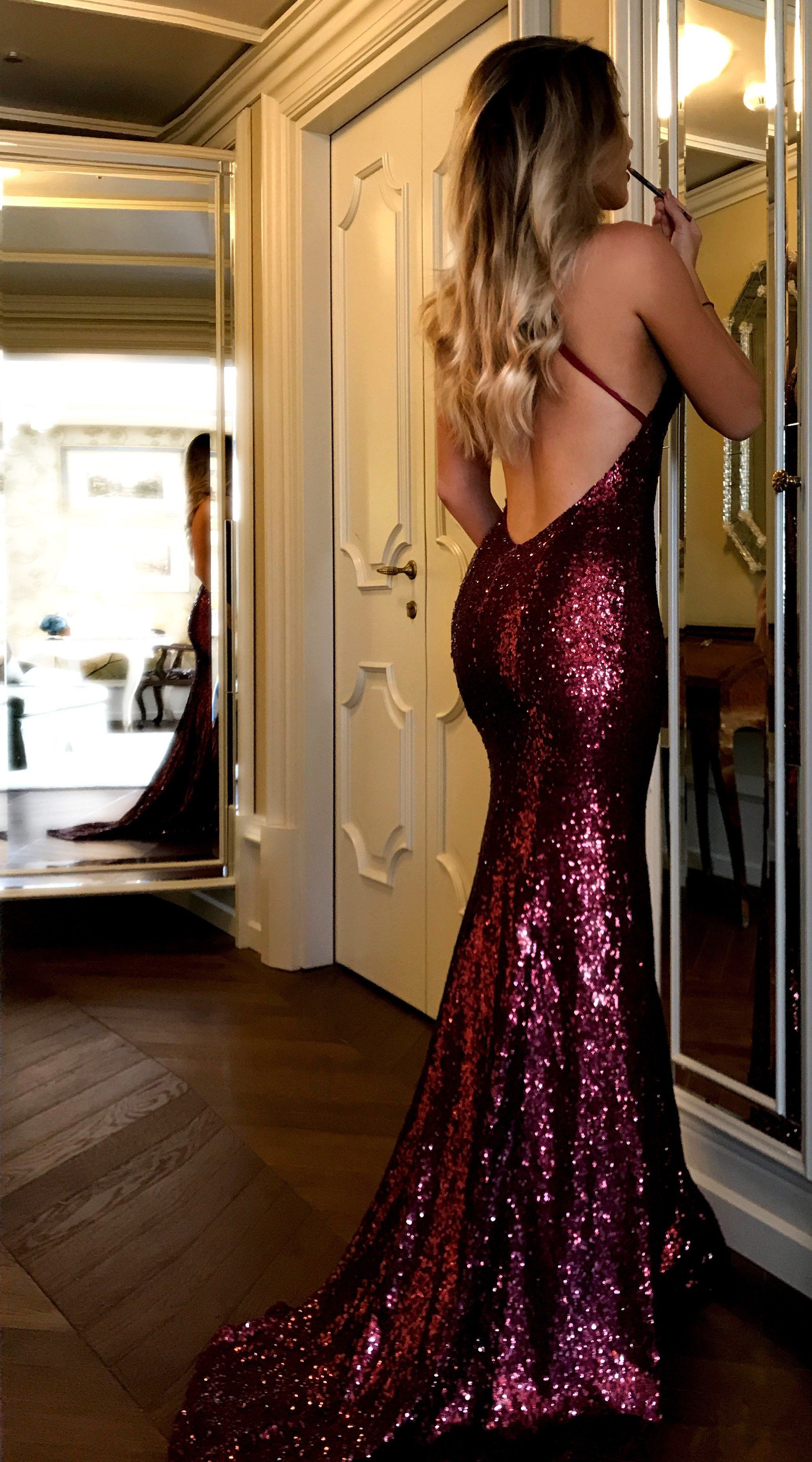 Sparkly Sequins Burgundy Long Prom Dress 2018 Prom Dress Mermaid