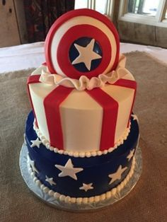 Captain America 2 tier grooms cake