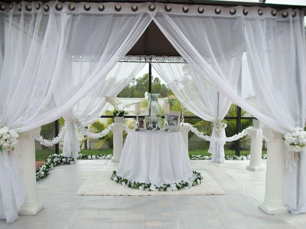 Patio Pizazz Outdoor Gazebo White Wedding DrapesPrice Includes