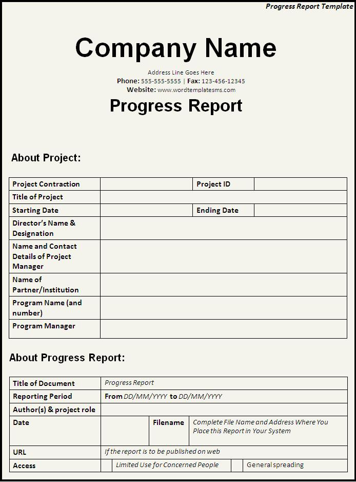 Company Progress Report Template 1 Templates Example Templates Example