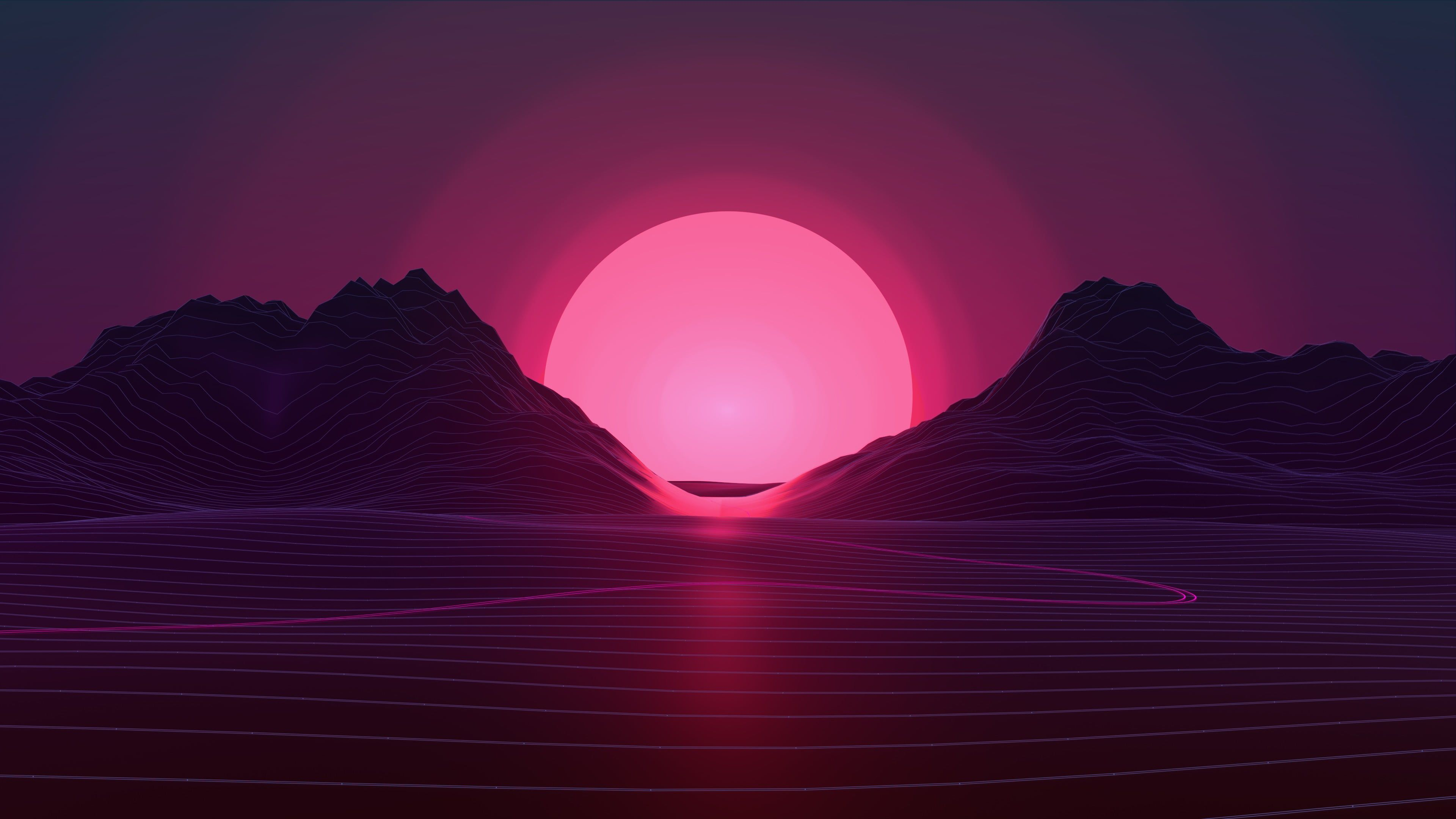 Mountain And Sun Wallpaper Mountain With Background Of Sunrise Digital Wallpaper Neon Sunset Retro Style Vaporwave Wallpaper Sunset Wallpaper Neon Wallpaper
