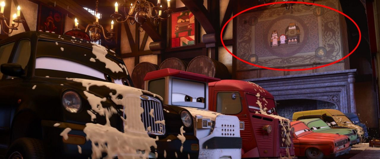 "During the chase scene in London in Cars 2, the Lemons crash into a pub. On the wall is a tapestry depicting ""Car-ified"" versions of Princess Merida and her family. This was a reference to Pixar's..."