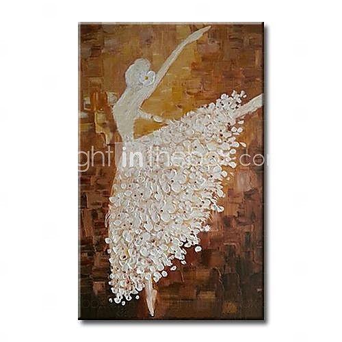 håndmalet danser moderne abstrakt oliemaleri med strakte ramme klar til at hænge - USD $ 71.99