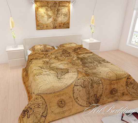 Bedding old map bedding free shipping upgrade steampunk 4 piece bedding old map bedding free shipping upgrade steampunk 4 piece bedding set cotton sateen vintage map duvet cover set with shams on etsy 9800 gumiabroncs Choice Image