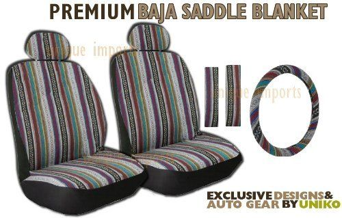 Baja Inca Saddle Blanket Front Seat Cover Pair - Complete w/ Steering Wheel Cover & Seat Belt Pads by Unique Imports, http://www.amazon.com/dp/B00D22K4N6/ref=cm_sw_r_pi_dp_ggr-rb09S8SA3