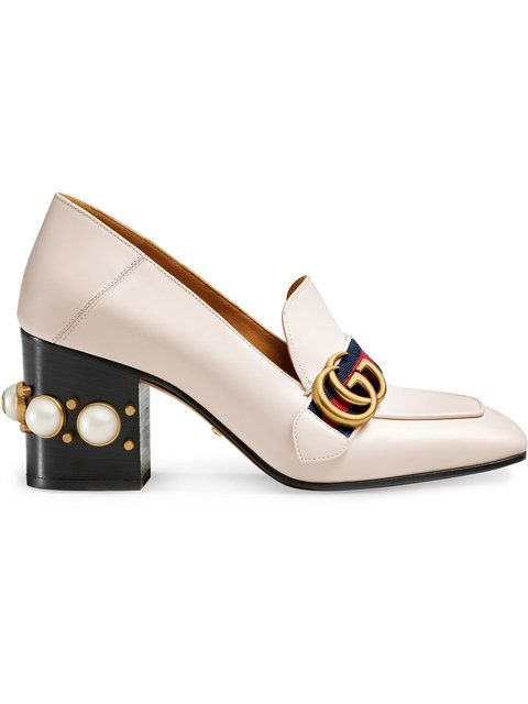 48c4bd058b2d Shop Gucci Leather mid-heel loafer.