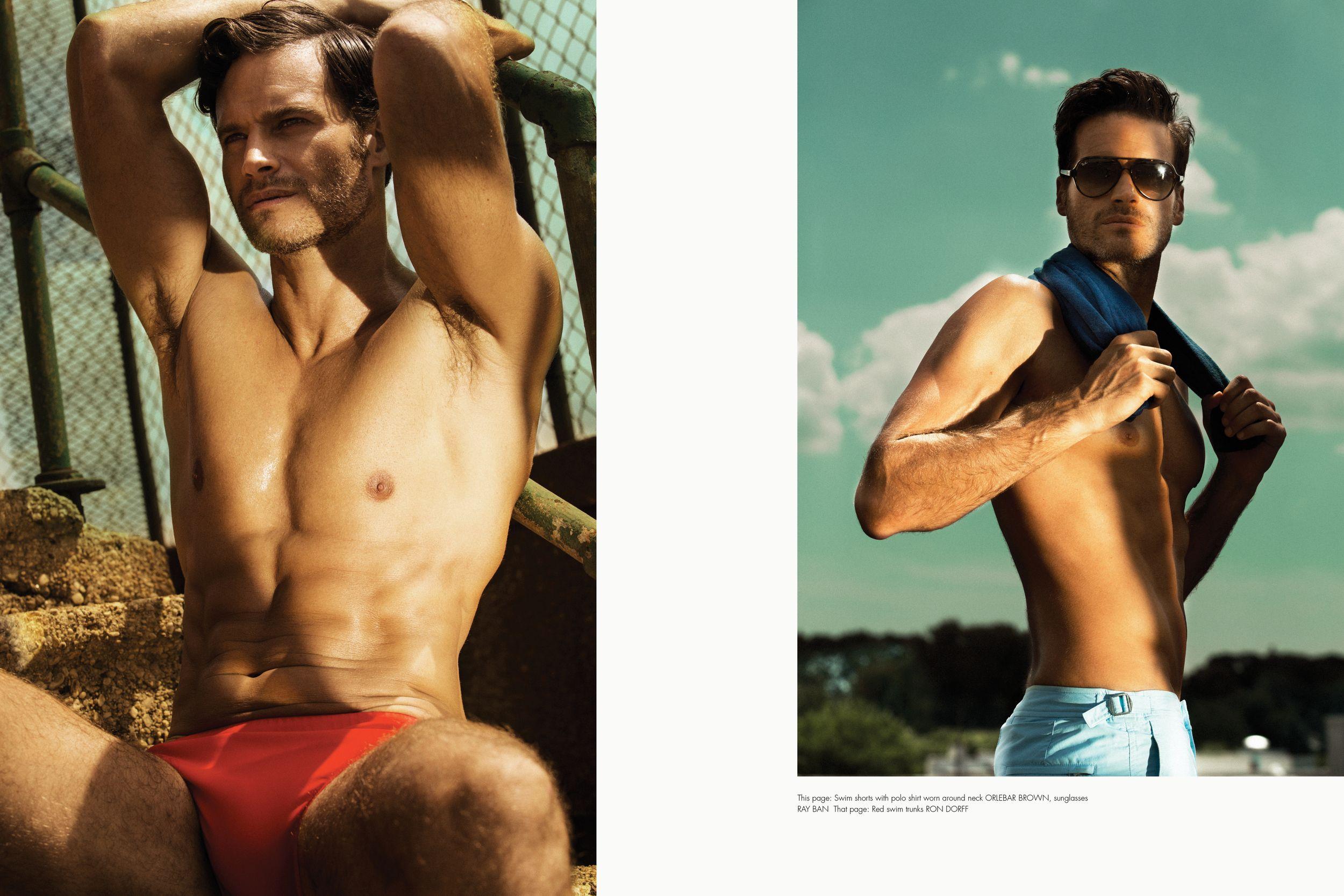 1f011cf320 Red swim trunks RON DORFF, Swim shorts with polo shirt worn around neck ORLEBAR  BROWN, sunglasses RAY BAN
