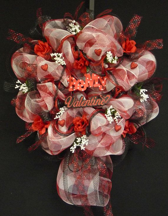 Be My Valentine Poly Deco Mesh Valentine Wreath By Wreathsbyrobin,