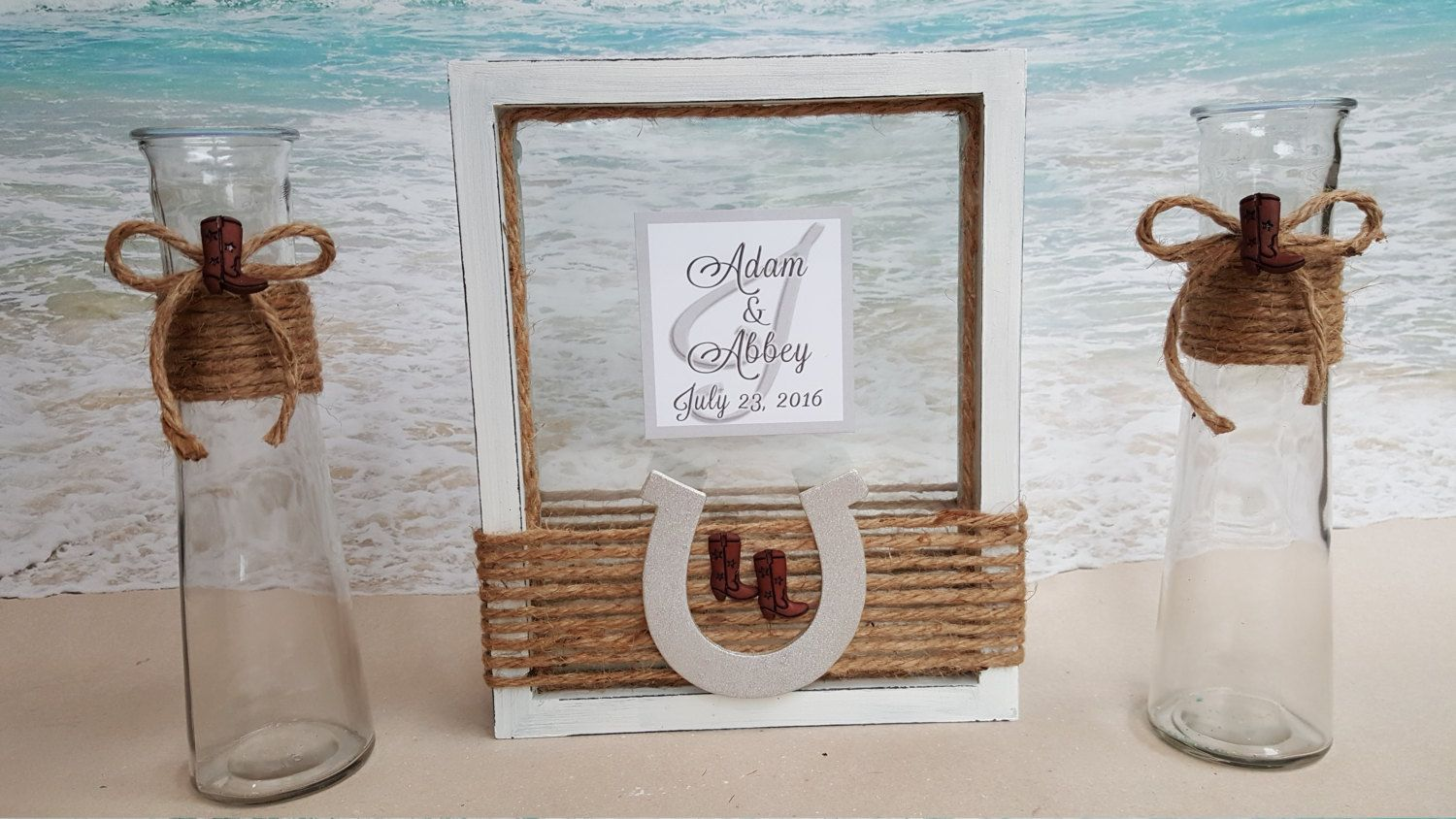 Rustic country unity sand frame set includes custom monogram rustic country unity sand frame set includes custom monogram cowboy boots horseshoe horse ceremony reviewsmspy