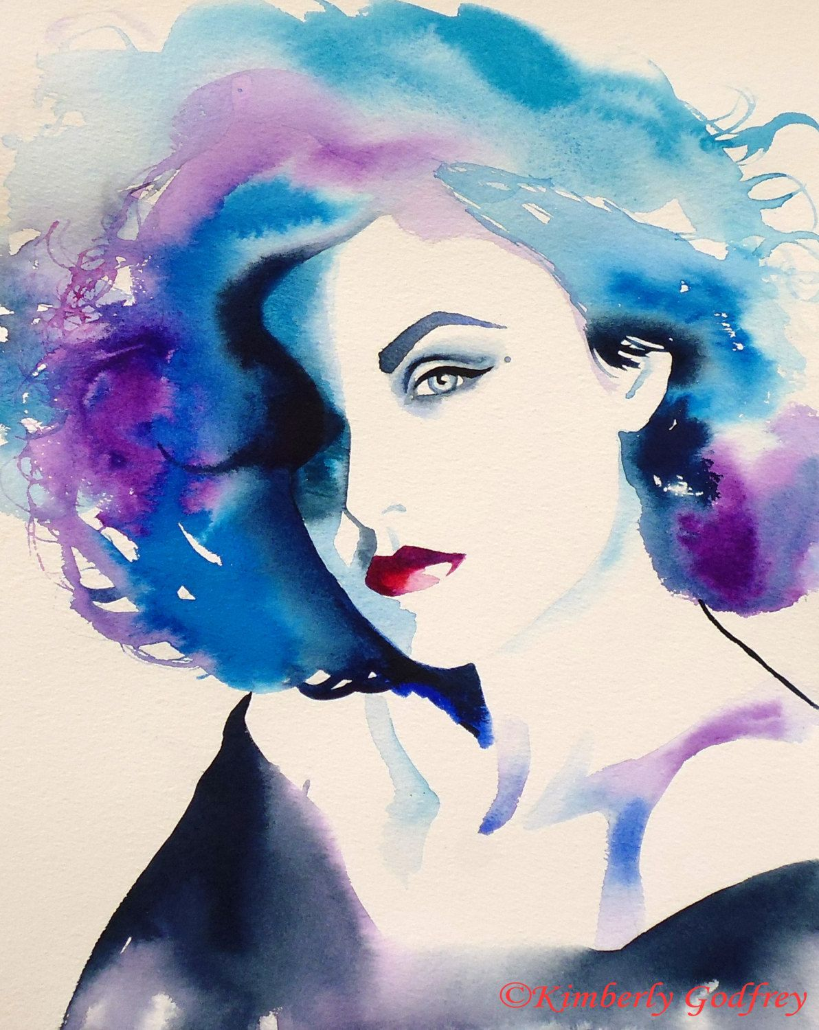 illustrationsforinstance:  1990s Glamour Art Print Fashion Illustration Audrey Original Watercolor Painting Portrait Blue Purple Hair Salon Decor