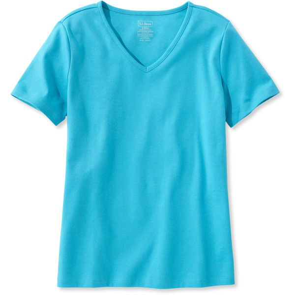 L.L.Bean Pima Cotton Tee, V-Neck ($20) ❤ liked on Polyvore featuring tops, t-shirts, short sleeve v-neck tee, blue v neck t shirt, long short sleeve t shirts, v neck tee and fitted tee
