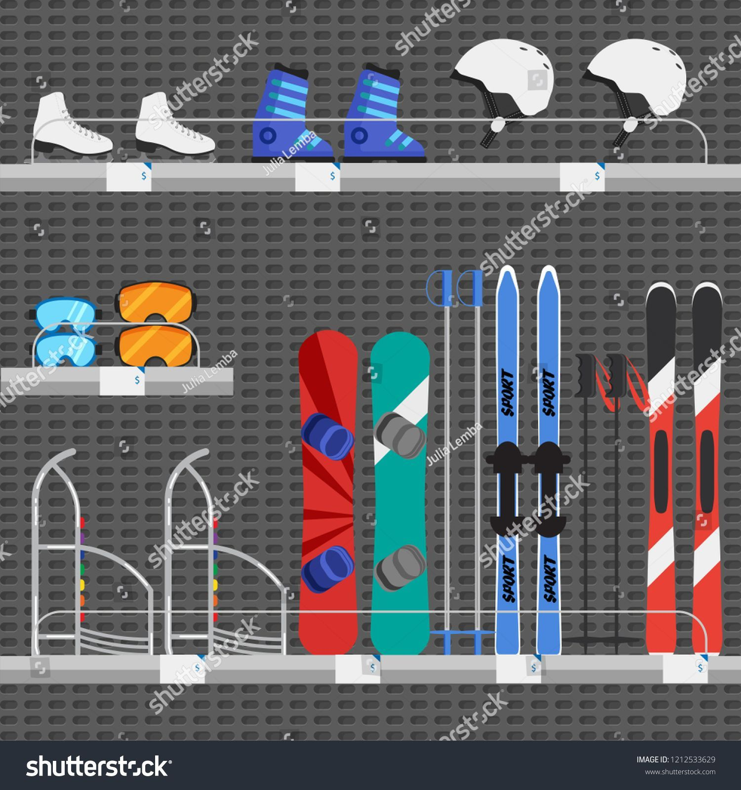 Shop or store counter with winter sport equipments Rent of skiing and snowboard Shop or store counter with winter sport equipments Rent of skiing and snowboarding equipme...