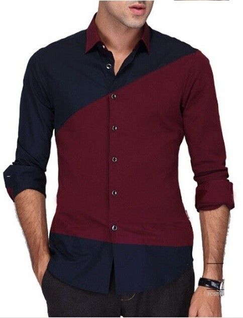 Camisa Casual Fashion Moderna en Dos Colores en Contraste