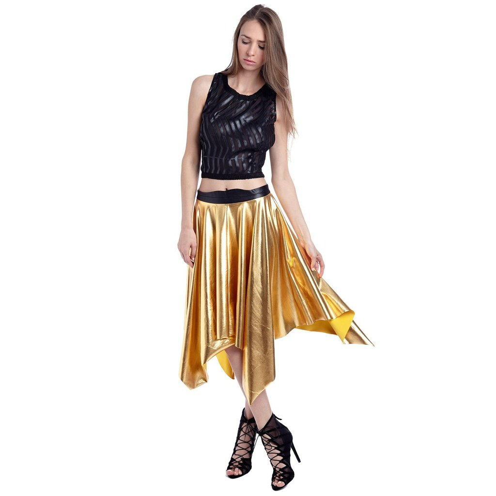 Golden pleated midi skirt in metallic products pinterest products