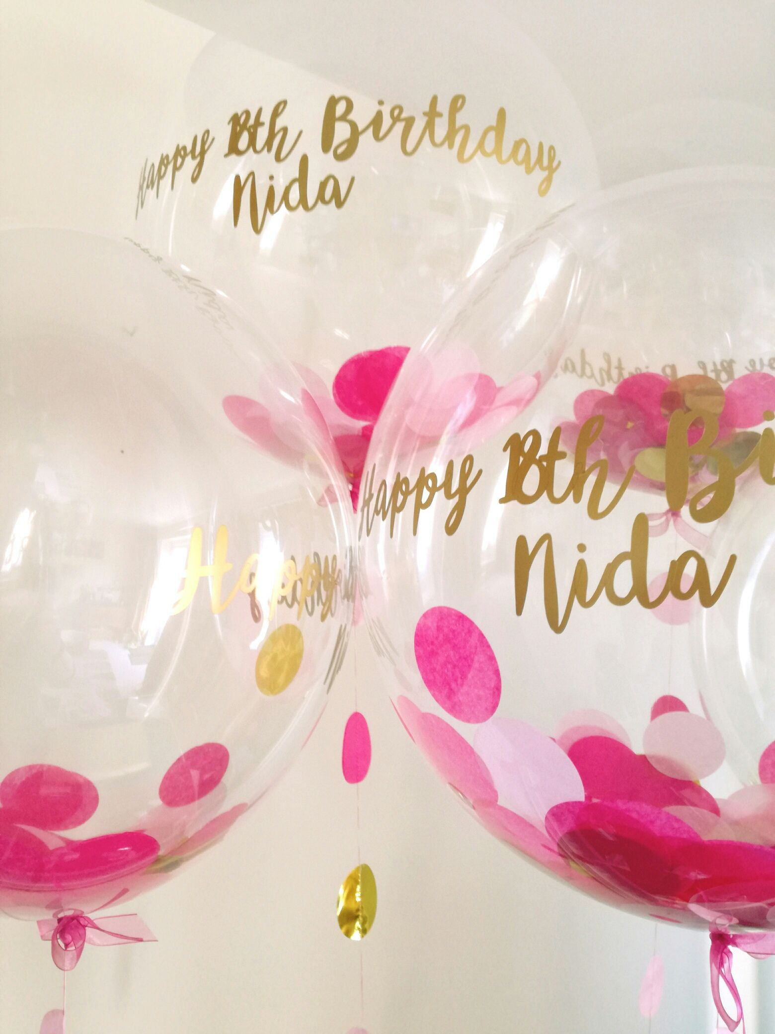 Personalised Rose Pink And Gold Confetti Balloon With 18th Birthday Writing Available From The Feather Company Website
