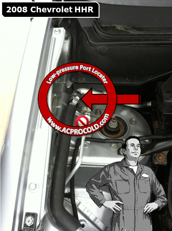 2008 Chevrolet HHR Low Side Port for A/C Recharge