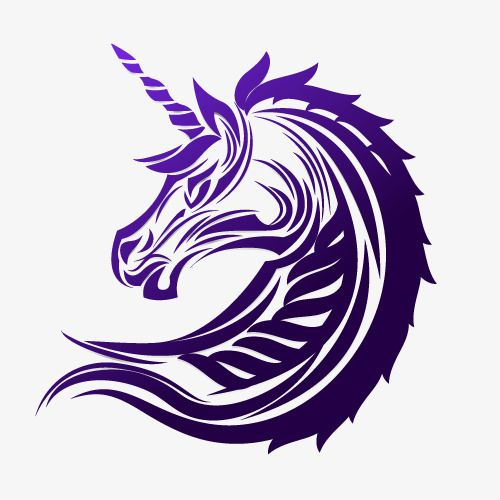 Purple Unicorn Stickers Vector Free Material Unicorn Tattoos Purple Unicorn Unicorn Logo