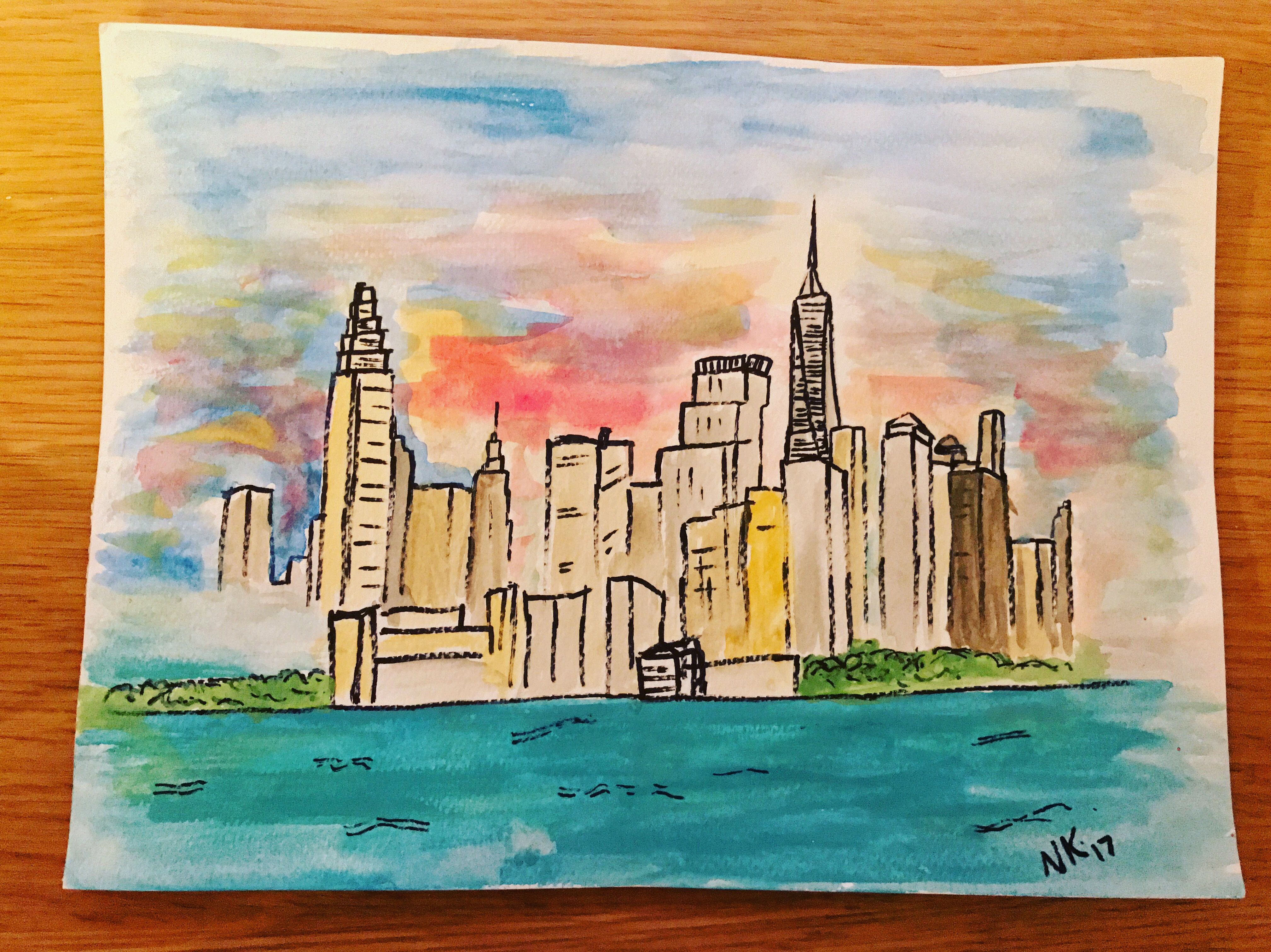 Original New York Cityscape Skyline Watercolour Nyc The Big Apple