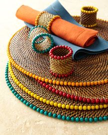 Bead Place mats & Napkin Rings great for summer