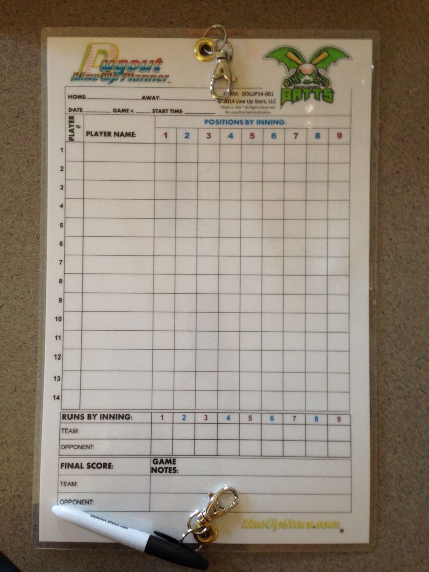 Custom Logo Dugout Line Up Planner For Baseball Softball Coaches Available From Www Lineupstars Com Baseball Dugout Softball Coach Softball Dugout