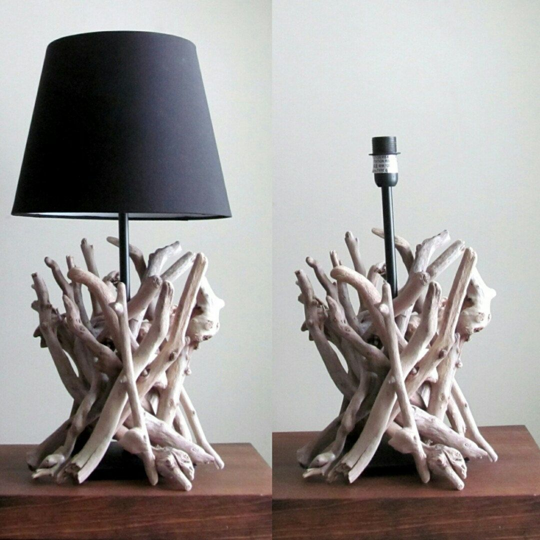 Driftwood table lamp with driftwood sculpture and black base 15 driftwood table lamp with driftwood sculpture and black base 15 tall driftwood lighting driftwood home decor lighting decor geotapseo Choice Image