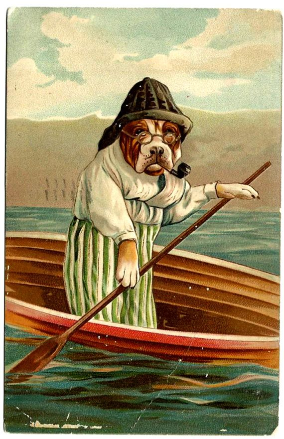 Old Salty Bulldog Sailor & Canoe Postcard, Spectacles Pipe Boat Paddle, 1908 Antique Vintage Victorian Ephemera by OakwoodView on Etsy
