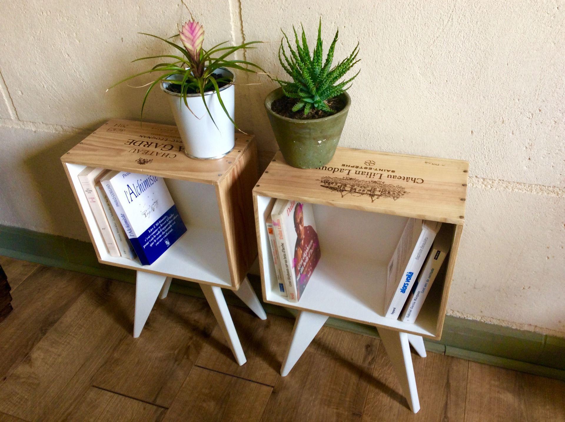 ensemble de 2 tables de chevet en caisse de vin pieds compas fait main meubles et rangements par la tulipe creative