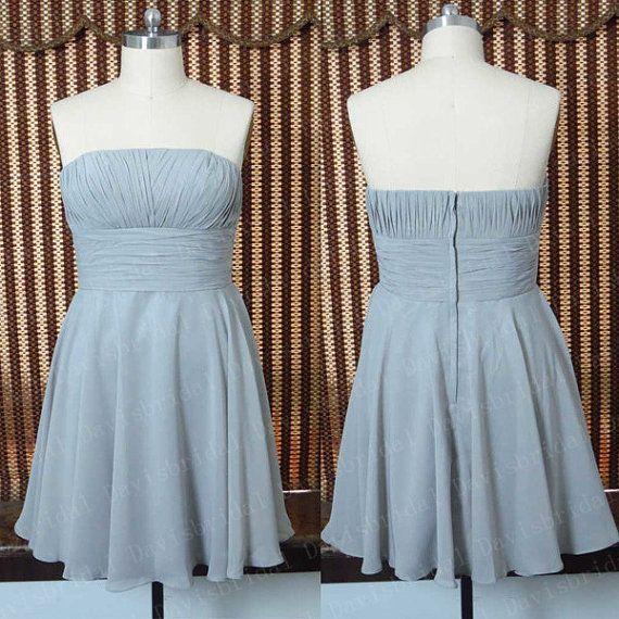 Simple strapless above knee length sliver chiffon bridesmaid dress short bridesmaid dresses,handmade cheap homecoming dress,short dress prom