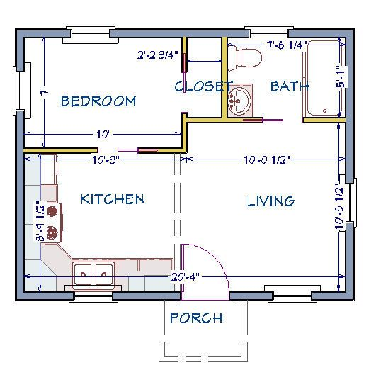 Tiny House Plan Ready To Build 1 Story 368 Sf Pl15020sl Tiny House Floor Plans Building Plans House Tiny House Plans