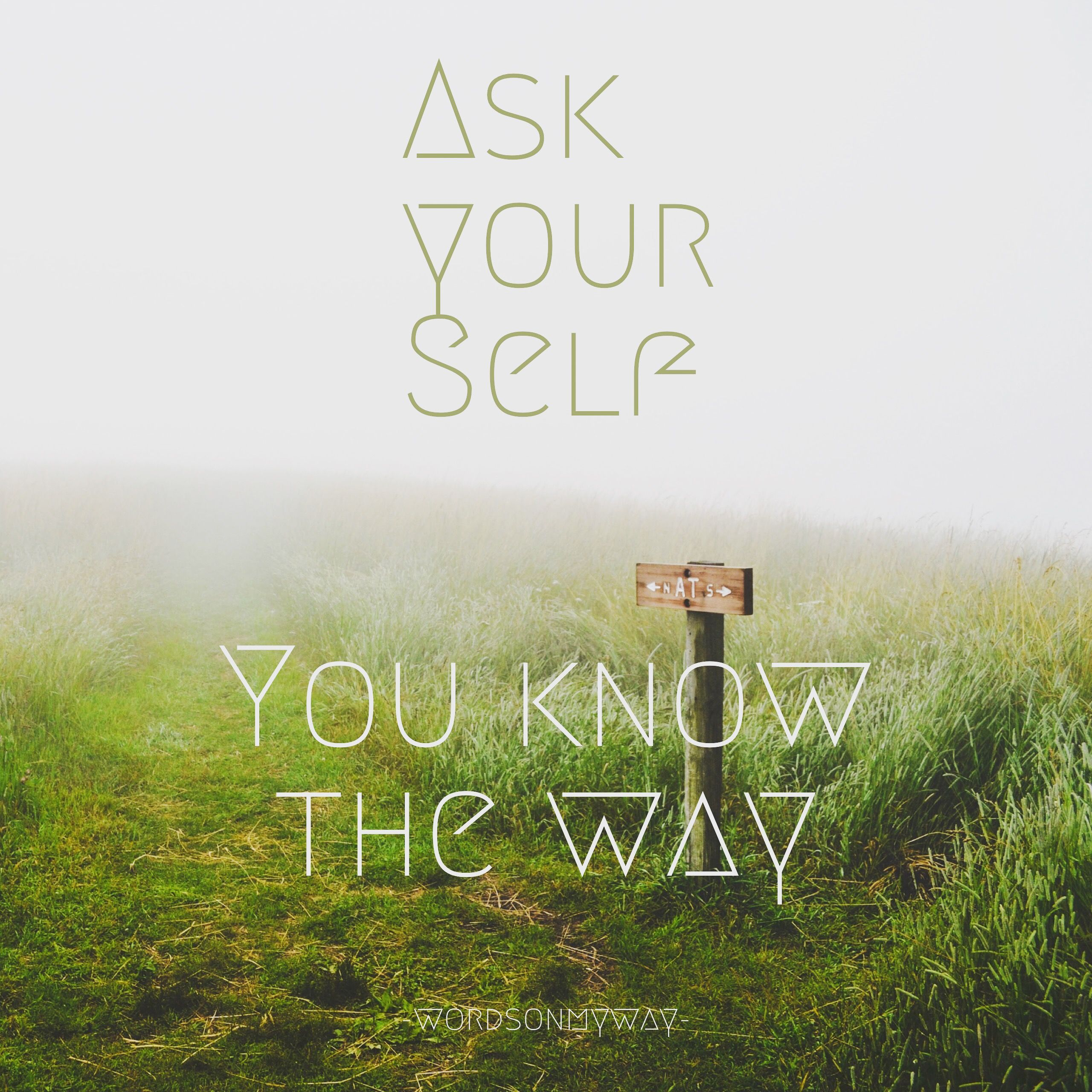 Ask your self, you know the way, your inner wisdom
