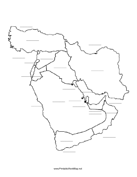 This printable map of the Middle East has blank lines on