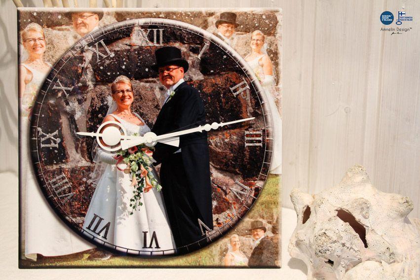 Asiakkaan kuvasta syntyy uniikki tuote joka sopii mainiosti esim. häälahjaksi tai lahjaksi merkkipäiväänsä viettävälle. Kellot valmistetaan käsityönä ja niillä on Design from Finland -merkin ja Avainlippumerkin käyttöoikeus.  Kellot ovat täysin muokattavissa asiakkaan toiveiden mukaiseksi aina numerointia ja kellon viisareita myöten. http://www.ateljeeamnelin.fi/lahjaksi/uniikit-lahjat-asiakkaan-kuvasta/ #käsityötä #handmade #design #giftshop #FinnishDesign #Giftsfromfinland #