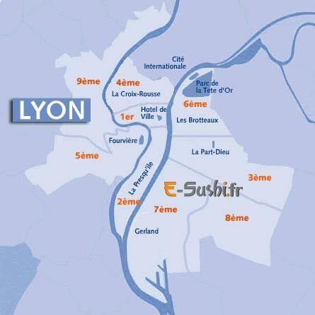 carte de lyon et ses arrondissements | Géographie | Pinterest