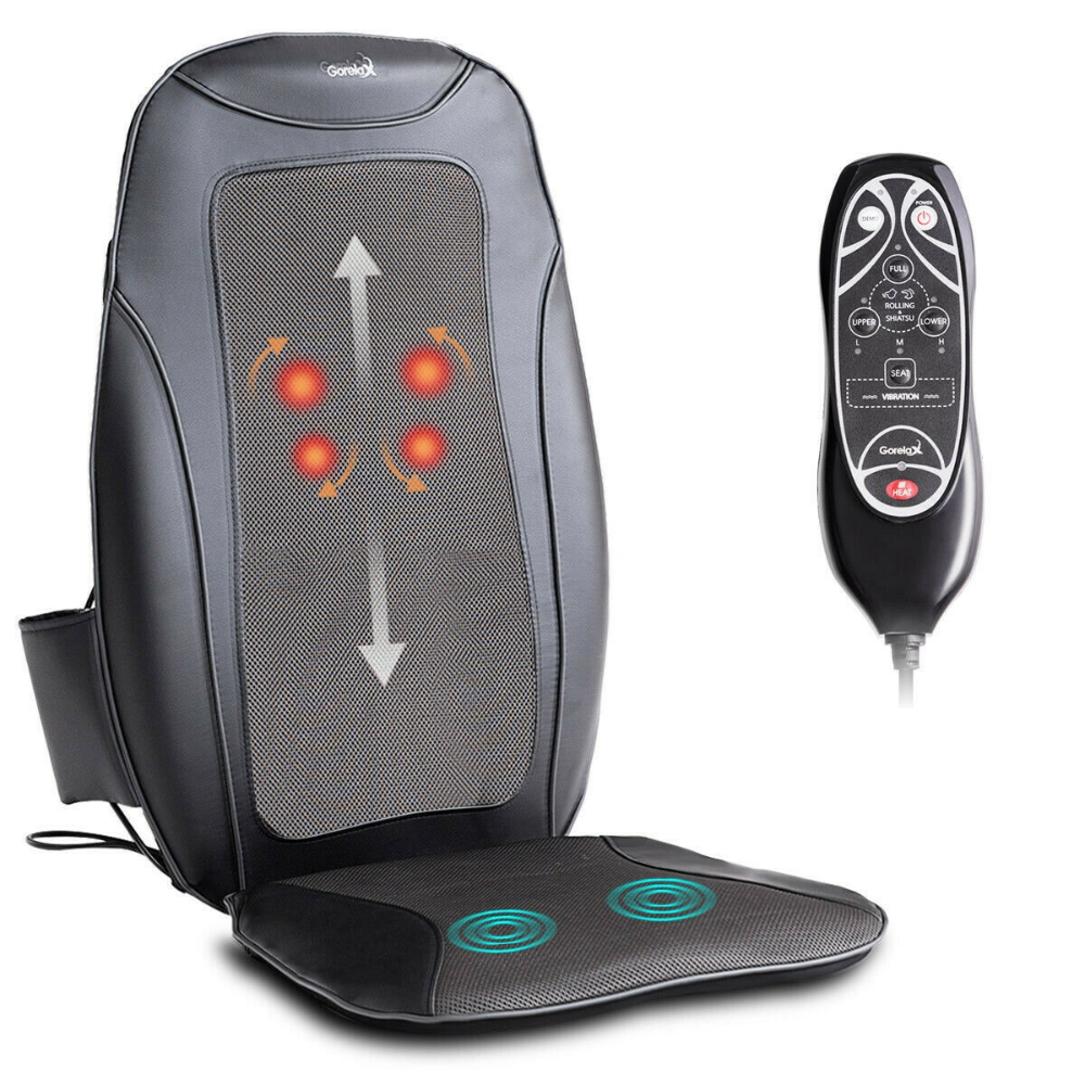 Portable 3d Shiatsu Heated Vibration Massage Chair Seat Cushion In Gift Bix Ebay Chair Seat Cushion Massage Chair Shiatsu Massage