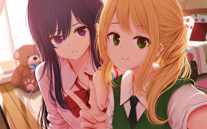 Download Wallpapers Yuzu Aihara Mei Aihara Manga Protagonists Citrus Besthqwallpapers Com Citrus Manga Anime Best Friends Friend Anime