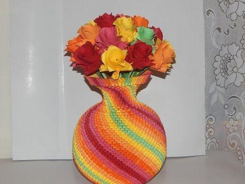 How To Make 3d Origami Rainbow Vase Part1 Youtube Hobi