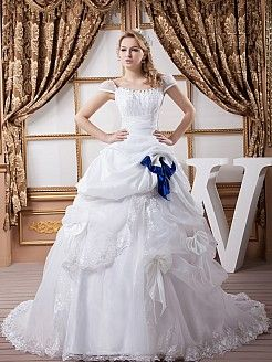 Marnetta - Satin Cap Sleeved Ball Gown with Beading and Bow Details - GBP £180.06