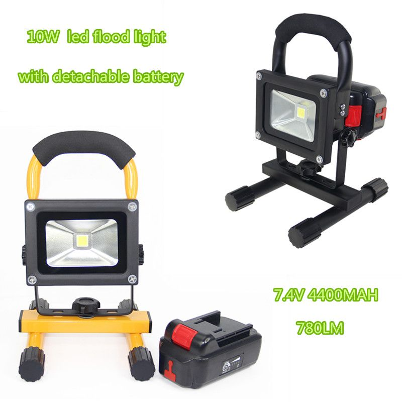 10w Rechargeable Led Floodlight Portable Spotlight Outdoor Flood Lamp Camping Work Light With Charger Detachabl Portable Spotlight Work Lights Outdoor Lighting