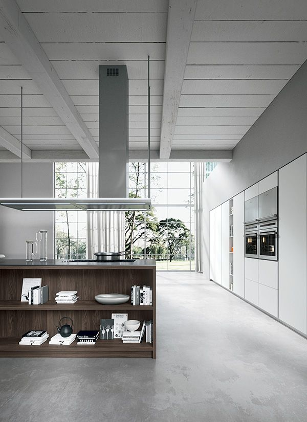 30° edge Coffee thermal-structure and 30° edge White (22mm. thick) laminate doors. Stainless steel worktop. #ArritalCucine #Kculture #modern #kitchen #Ak02