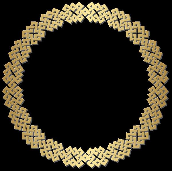 golden round border frame transparent png clip art