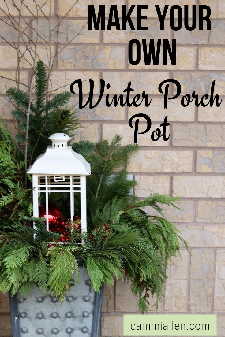 WINTER PORCH POT  Front porch christmas decor, Winter porch