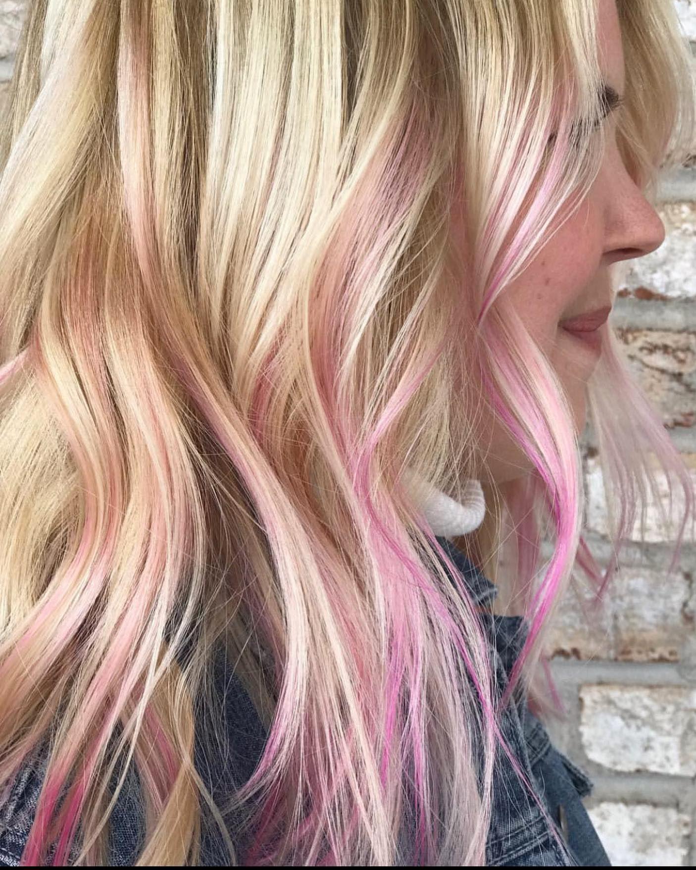 On Wednesdays We Wear Pink In Our Hair This Color Is Perfect For Breastcancerawareness Hair Color By Elle Hairpainted Hair Long Hair Styles Pink Hair