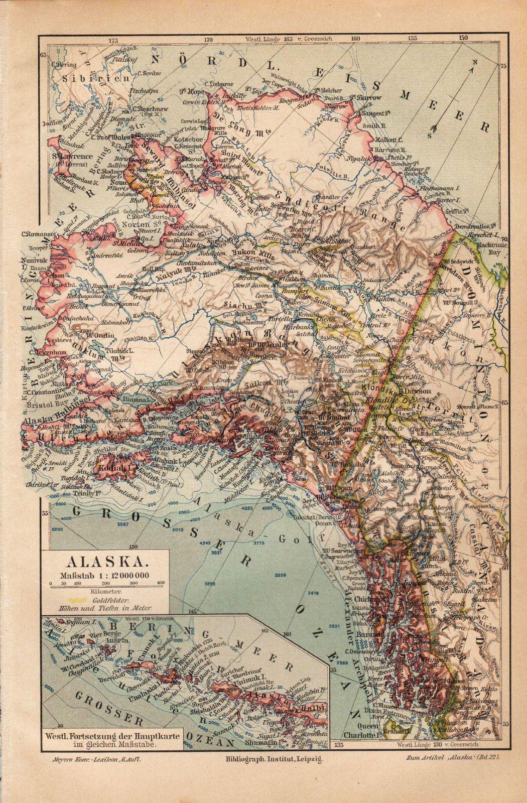 Ca 1890 alaska antique map ebay mapsglobesastrolabes ca 1890 alaska antique map ebay gumiabroncs Choice Image