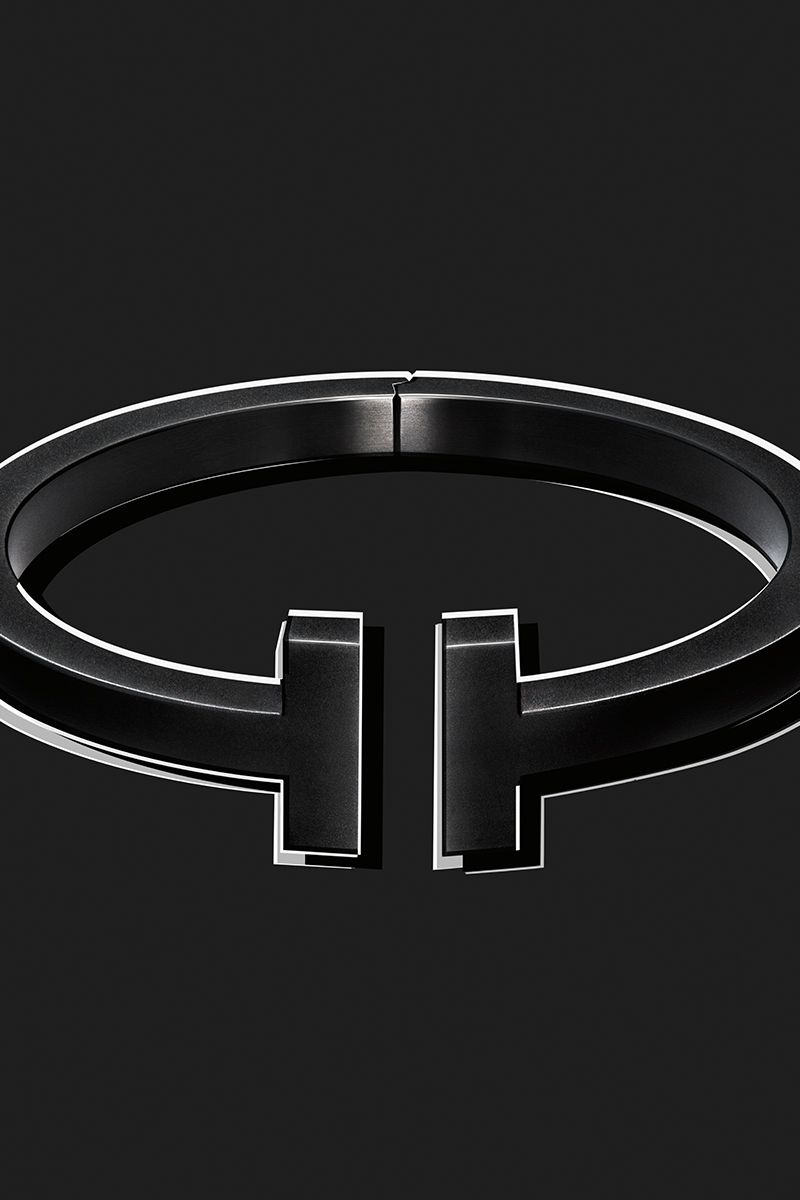 029f8ec763 The dark side of glamour. Tiffany T square bracelet in black-coated steel.