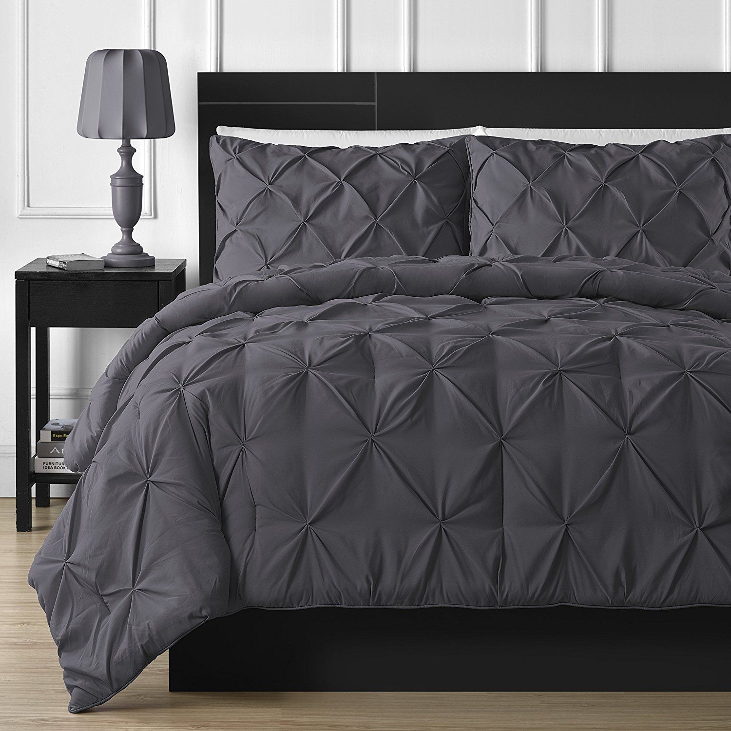 61da27c16158 Double-Needle Durable Stitching Comfy Bedding 3-piece Pinch Pleat Comforter  Set (Full, Gray
