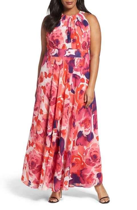 Flower Print Plus Size Dresses