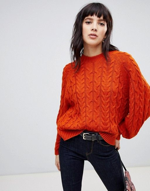 75f7e35ce1821 Stradivarius cable knitted sweater