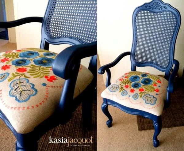 hand embroidered vintage chair seat on behance stitched by hand rh pinterest com