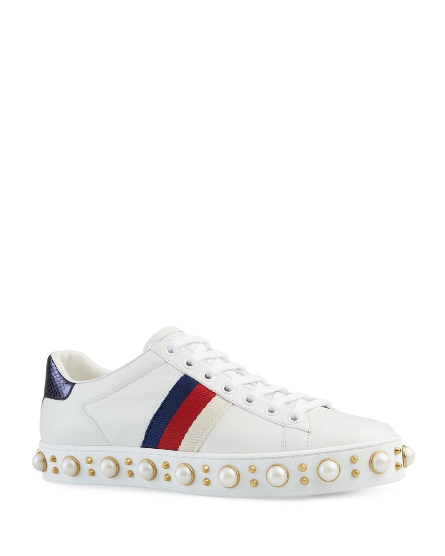 sports shoes 88486 bd121 Gucci New Ace Pearl Stud Lace Up Low Top Sneakers