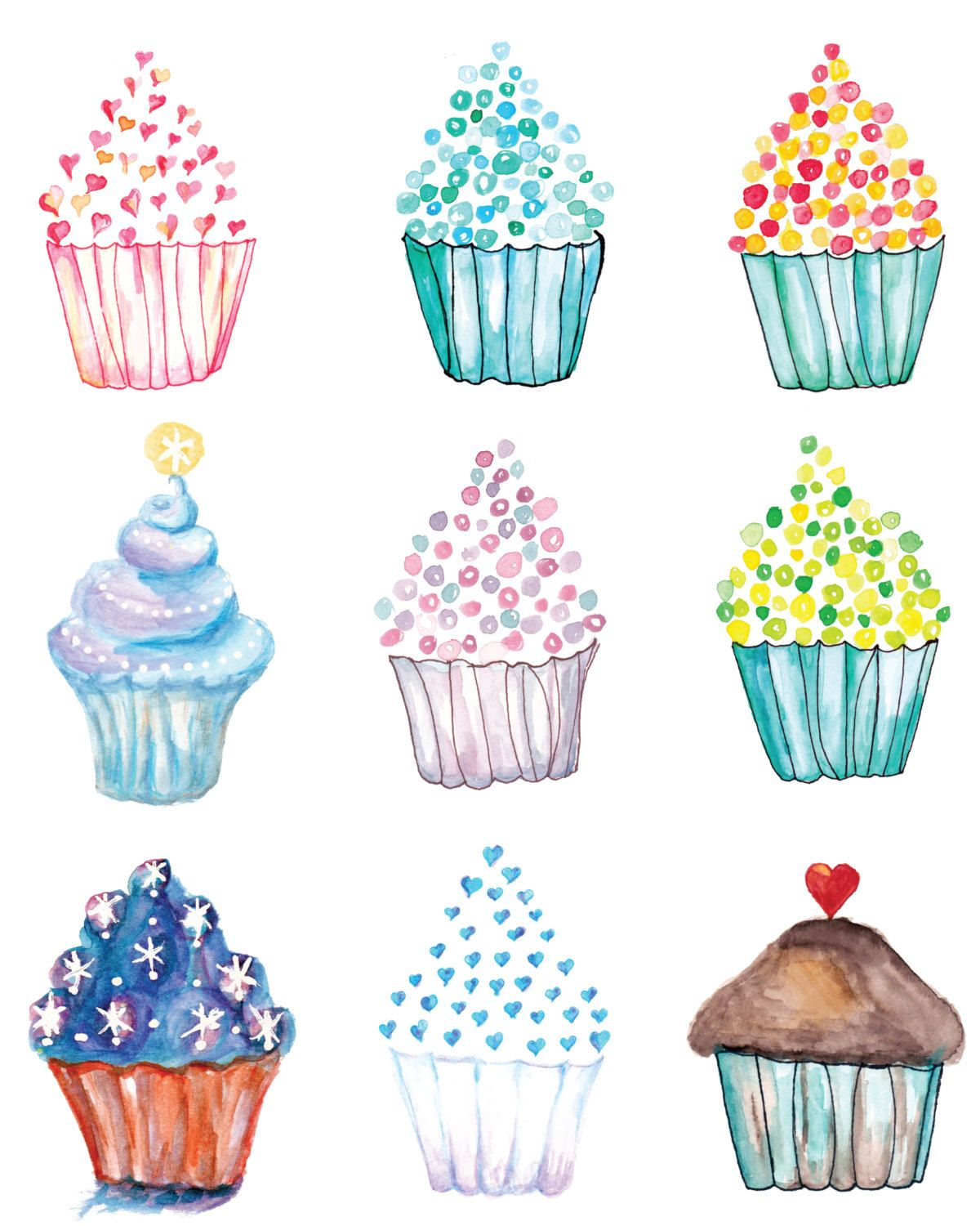 picture relating to Printable Cupcake named Cupcake Poster, Watercolor Cupcakes, Cupcake Artwork, Birthday
